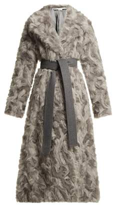 Stella McCartney Tie Waist Faux Fur Coat - Womens - Grey
