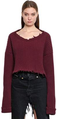 Unravel Cropped Wool & Cashmere Rib Knit Sweater