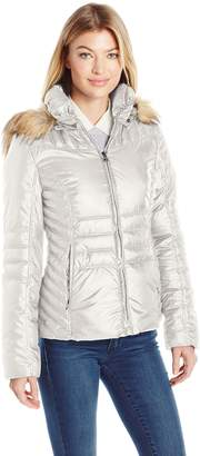 GUESS Women's Polyfill Puffer with Faux Fur Trim Hood