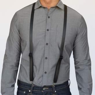 Blade + Blue Black Leather Skinny Suspenders with Metal Hook Closure