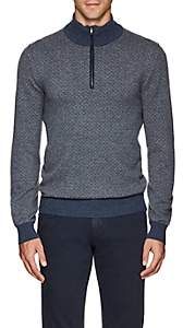 Luciano Barbera Men's Marled Cashmere Quarter-Zip Sweater - Gray