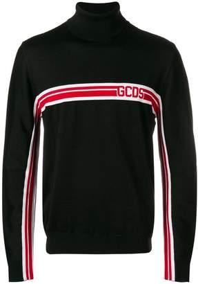 GCDS stripe-detail rollneck jumper