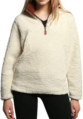 BingHang Women's Fashion Solid Color Zippered Sherpa Pullover Dress Sweater