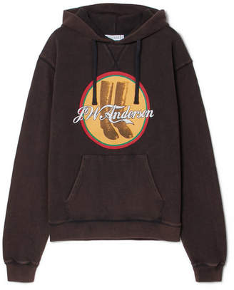 J.W.Anderson Printed Cotton-terry Hooded Top - Black