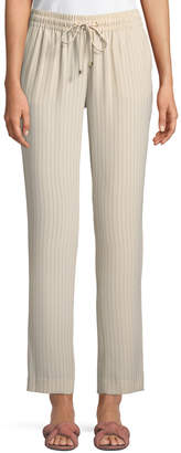 Iconic American Designer Drawstring Straight-Leg Striped Suiting Pants