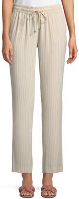 Iconic American Designer Drawstring Straight-Leg Striped Suiting Pants
