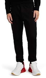 Alexander McQueen Men's Leather-Trimmed Cotton Fleece Jogger Pants - Black