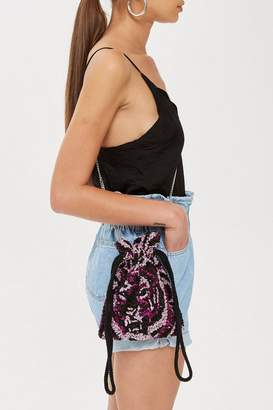 Topshop Tiger Beaded Drawstring Cross Body Bag