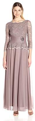 Cachet Women's Faux 2 Piece Lace Gown