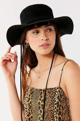 Urban Outfitters Faux Suede Braided Trim Ranch Hat