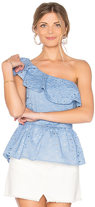 J.O.A. One Shoulder Lace Top in Blue $70 thestylecure.com