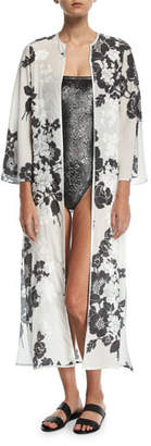 Marie France Van Damme Rose-Embroidered Silk Open Caftan Coverup