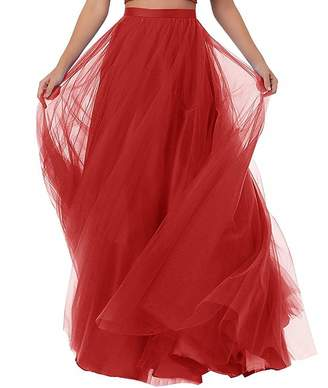 196249c096 Diydress Women's Long Tutu Tulle Prom Party Skirt A Line Floor Length  Formal Skirts
