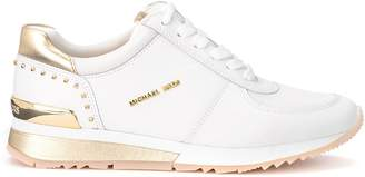 Michael Kors Allie Sneaker In White Leather With Gold Details