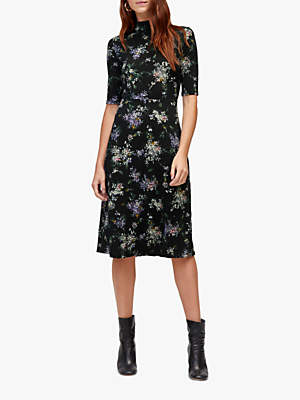 Warehouse Brushed Floral Midi Dress, Black