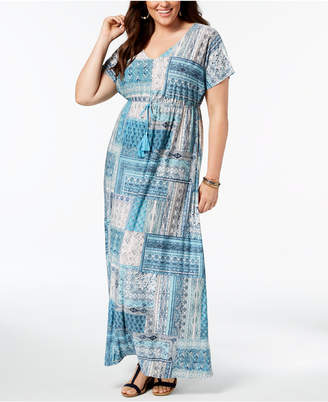 Style&Co. Style & Co Plus Size Patchwork-Print Maxi Dress, Created for Macy's