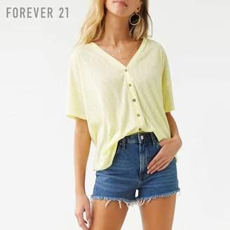 Forever 21 (フォーエバー 21) - Forever 21 フロントボタンVネックリブトップ