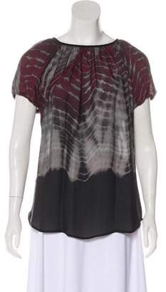 L'Agence Silk Tie-Dye Printed Top