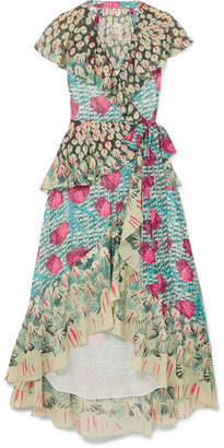 Temperley London Ruffled Printed Voile Wrap Dress - Turquoise