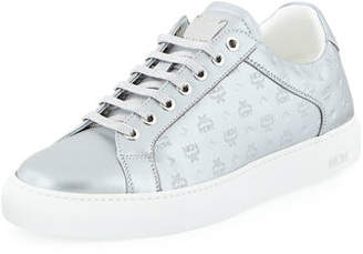 MCM Men's Metallic Logo-Stamped Low-Top Sneakers