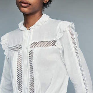 Maje Blouse in cotton voile with lace