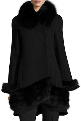 Belle Fare Cashmere Swing Coat with Fur Cuffs & Trim $1,100 thestylecure.com