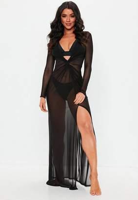 Missguided Black Sheer Thigh Split Maxi Dress