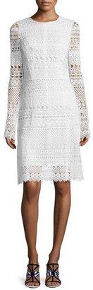 Oscar de la Renta Long-Sleeve Banded-Lace Sheath Dress, White $3,490 thestylecure.com