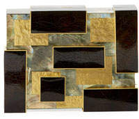 Rafe Ramya Cubist Minaudiere, Black/Gold