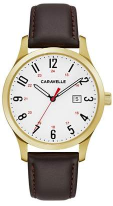 Bulova CARAVELLE Designed by Caravelle Men's Brown Leather Gold-Tone Stainless Steel Easy Reader Watch 40mm
