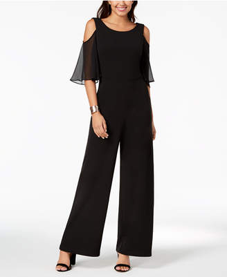 Connected Petite Chiffon Cold-Shoulder Jumpsuit