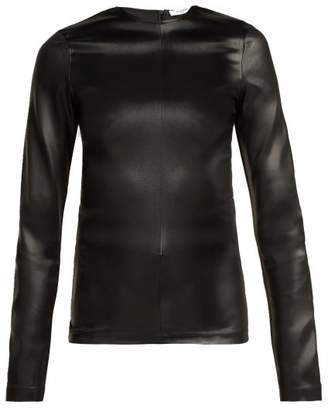 Givenchy Long Sleeved Satin Top - Womens - Black