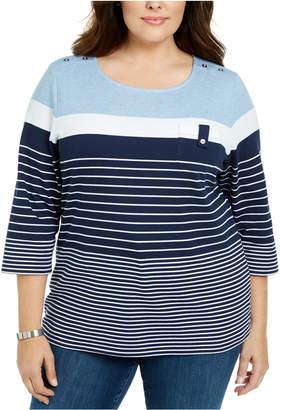 Karen Scott Plus Size Scoop-Neck Striped Top