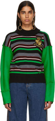 J.W.Anderson Green Striped Deconstructed Crewneck Sweater