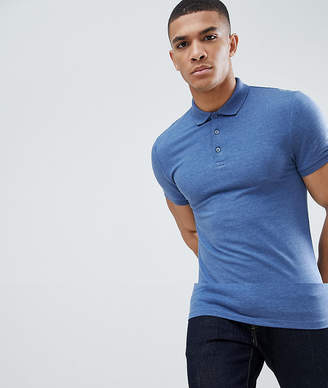 Asos DESIGN muscle fit jersey polo in blue