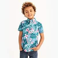 J.Crew Factory Boys' printed short-sleeve washed shirt