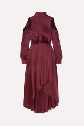 Diane von Furstenberg Cold-shoulder Asymmetric Silk Midi Dress - Burgundy