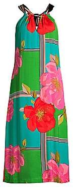 Trina Turk Women's Rose Print Halter Midi Dress