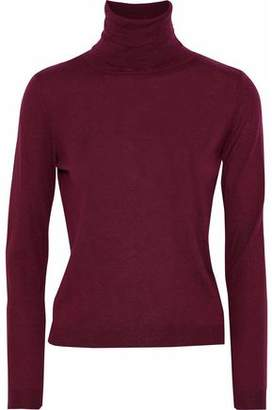 RED Valentino Point D'esprit-Paneled Ribbed-Knit Cashmere And Silk-Blend Turleneck Sweater