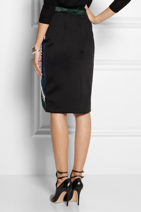 Peter Pilotto Whipstitched calf hair pencil skirt
