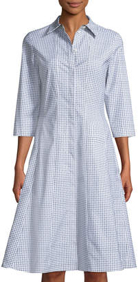 Lafayette 148 New York Cammi Diamond-Print Poplin A-Line Shirtdress
