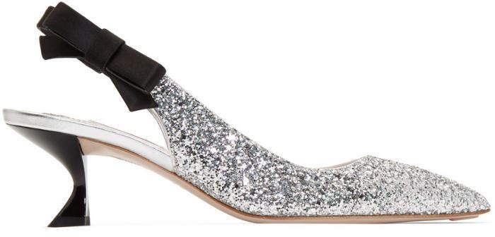 Miu Miu Silver Glitter Satin Ribbon Heels