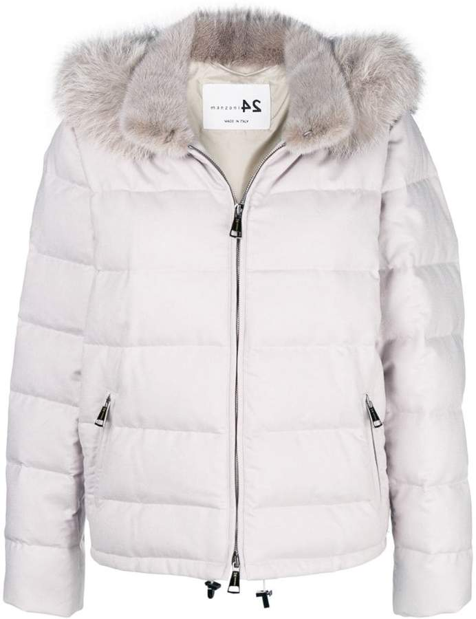 Manzoni 24 fur-collar padded jacket