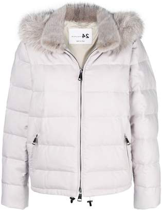 Manzoni 24 fur-collar padded jacket