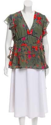 Tanya Taylor Floral Silk Blouse w/ Tags