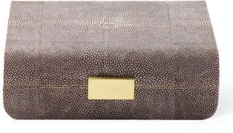 AERIN Small Chocolate Faux-Shagreen Jewelry Box