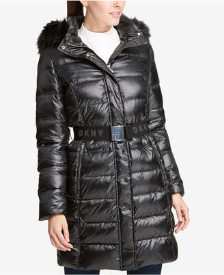 DKNY Faux-Fur-Trim Belted Puffer Coat