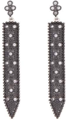 Freida Rothman Industrial Finish Sterling Silver Clover Linear Drop Earrings