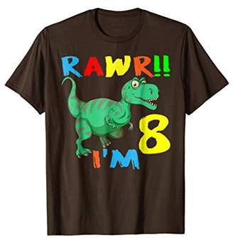 Dinosaur Birthday Gift TShirt For 8 Year Old Boys Girls Tee