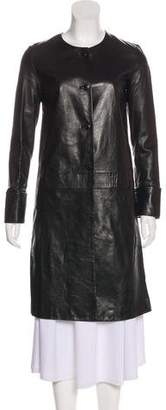 Helmut Lang Leather Knee-Length Coat